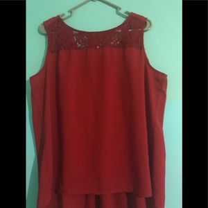 Red Dressy Sleeveless Blouse